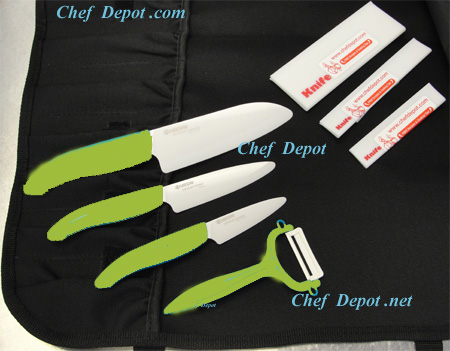 Eco Green Ceramic Kyocera Knife Set On Sale