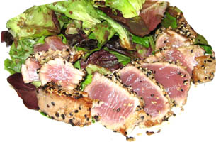 Ahi Tuna Medium Rare with Baby Greens Salad