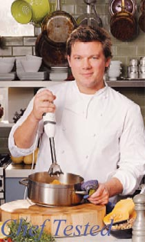 Chef with hand blender