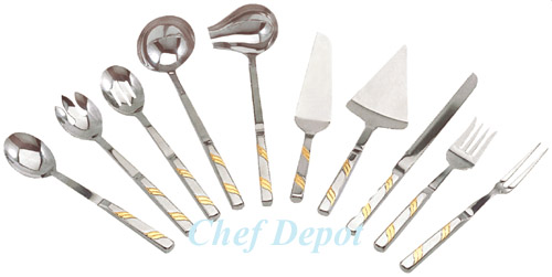 Stainless Steel/Gold Serving Utensils