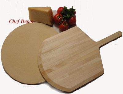 Heavy Duty Pizza Stone & Pizza Peel Set