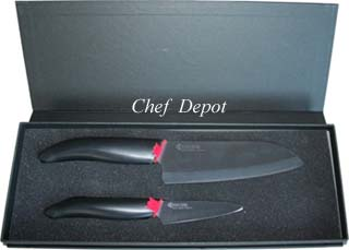 Ceramic Santoku Knife and Paring Knife Gift Set