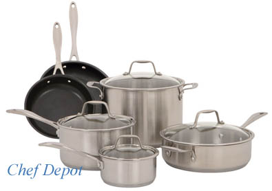 10 Piece Non Stick & Tri Ply Stainless Cookware Set