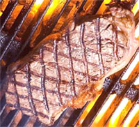 Excellent Beef Strip Steak with correct diamond pattern grill marks