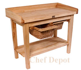 White House Table, used by the Chefs in the White House kitchen, pictured is 48 x 24 table with baskets