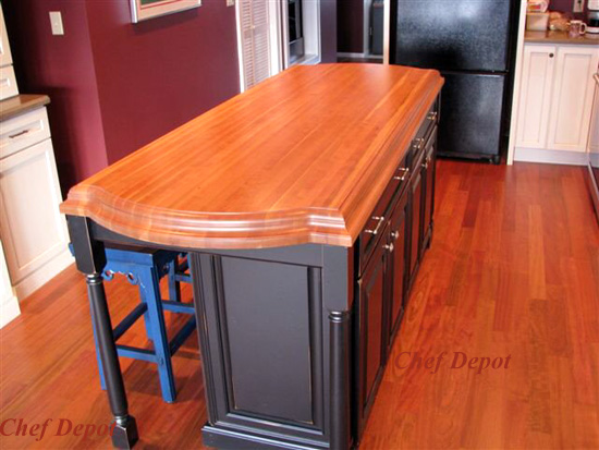 Ogee Edge Lyptus Wood Kitchen Island Top