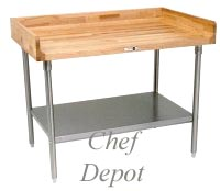 Solid Maple Table with Stainless Steel Legs & Shelf