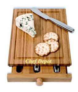 Cheese Knife cutting board Set with pull out drawer