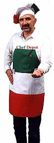 Italian Chef Hat and Striped Apron