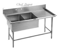 stainless steel 2 compartment sink