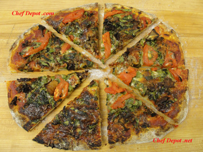 Vegetarian Pizza made on our pizza stone